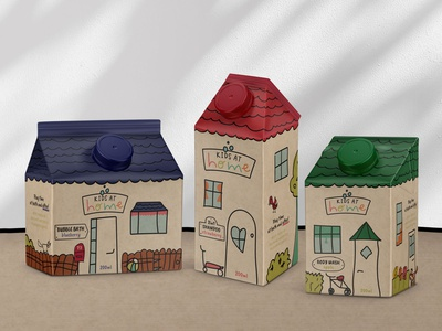 Kids At Home concept home house kids care body care packaging kraft sustainable packaging kids