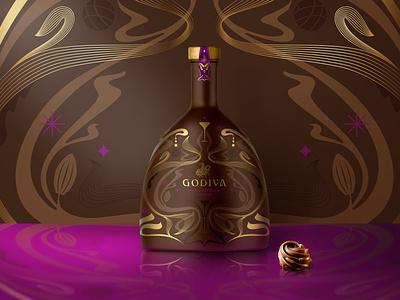 Premium Packaging Design Concept drinks spirits premium luxurious luxury pattern design modern sustainable illustration milk chocolate liqueur chocolate art nouveau