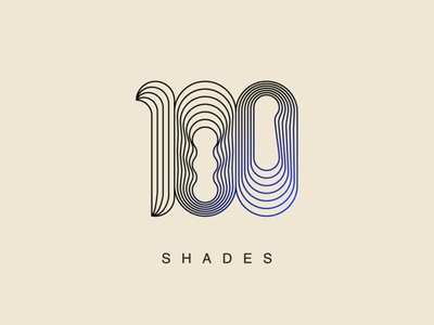 100 Shades Logo modern clean nuances tones one zero a hundred number black blue bauhaus concept logo 1 100 inline line lines shades hundred