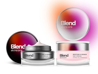 Blend Skincare concept modern bold beauty skincare blend packaging design logo branding