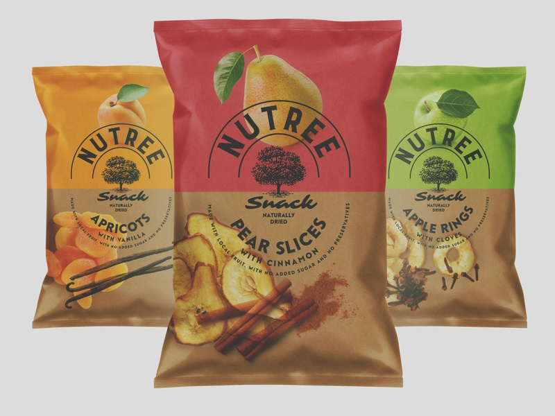 Nutree Snack Sustainable Packaging eco packaging sustainable packaging kraft dried appricot dried pear dried apple apple pear beer snack dried fruits natural natural organic eco sustainability sustainable