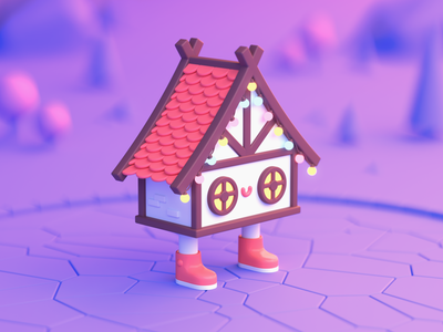 Little House character cinema4d art 3dart render low poly lowpoly illustration c4d 3d