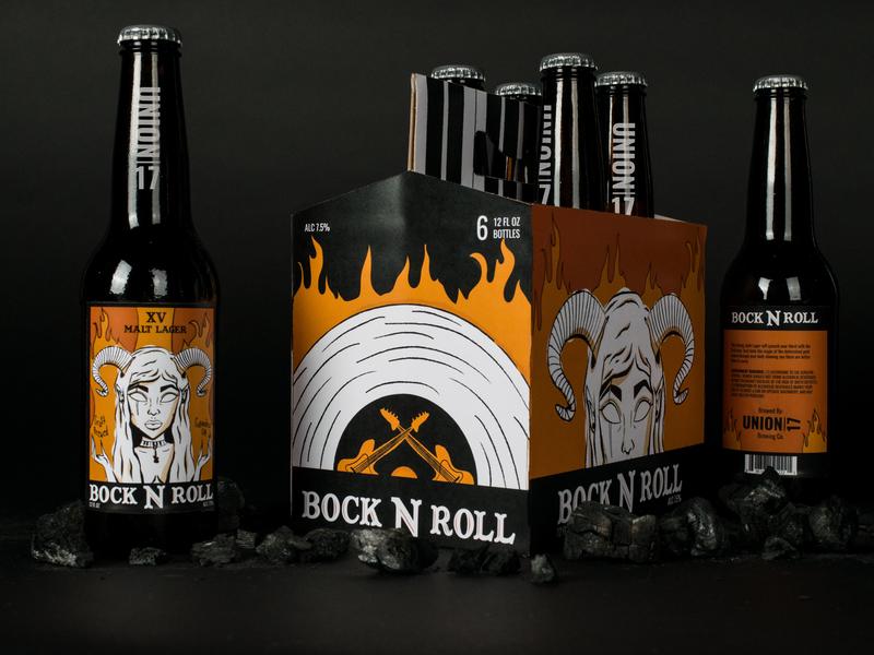 Bock N Roll Beer Label tarot capricorn label mockup label design label fire halloween witch pagan rock n roll guitar music beer bottle beer graphic  design package design package illustration design logo