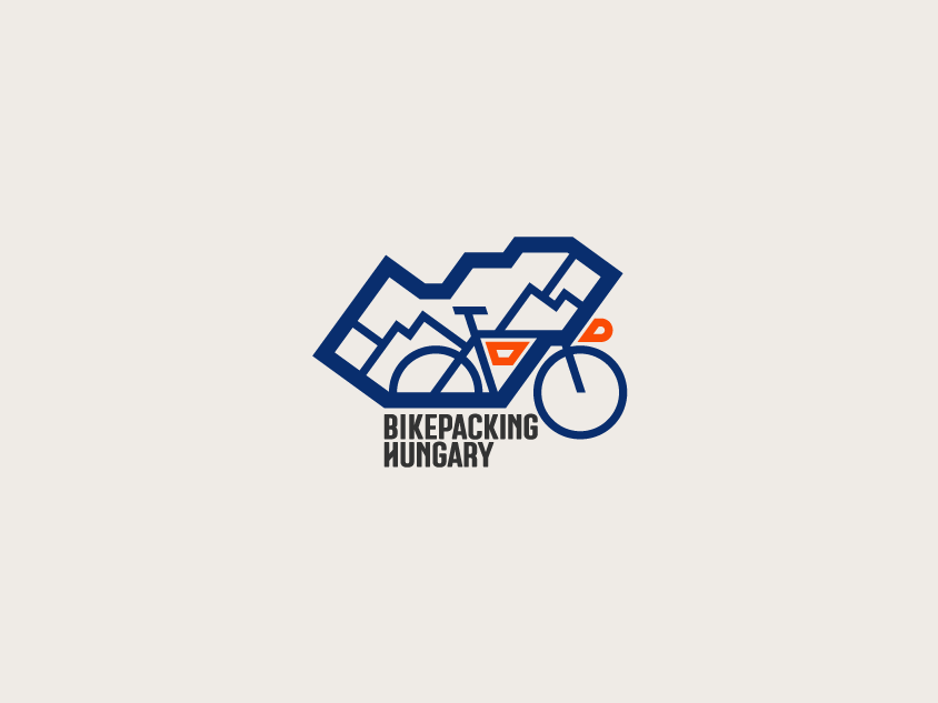 Bikepacking Hungary logo bike icon branding logo cycling hungary bike logo