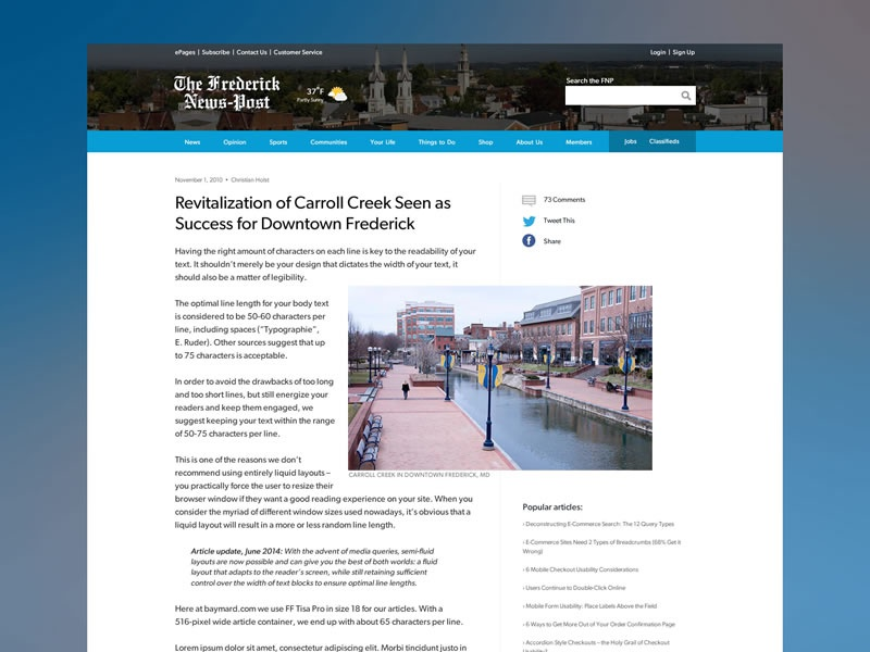 Local Online News Website - Article Page by Dave Tross ...