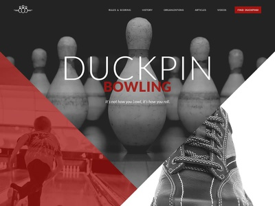 Bowling Website Redesign css html black red duckpins bowling responsive website