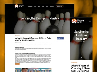 The Duckpin News redesign duckpins bowling bootstrap css html mobile responsive website