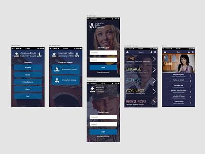 Mobile App screens web online college university adobe xd app mobile