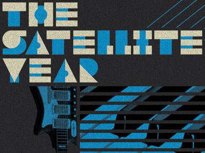 """The Satellite Year"" logo icon typography branding custom type match  kerosene match and kerosene two-tone piano guitar blue note"