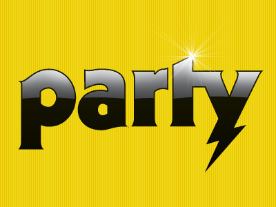 party party type treatment lubalin glossy logo branding custom type serif gothic