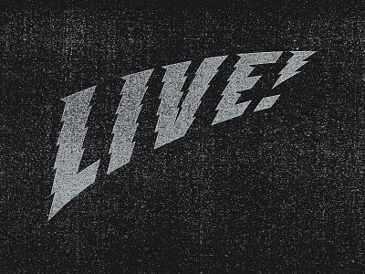 Live! lightning bolt lettering watts voltage electric live