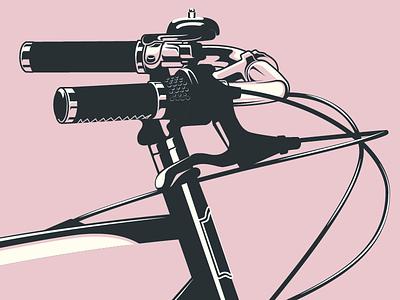 Handlebars bicycle flat vector bike