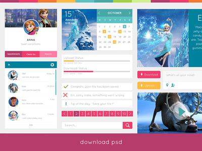 Free UI Kit free freeby ui kit ux kit psd file cover calendar colorful pink play download