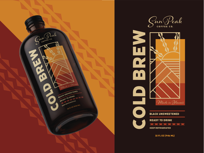 Sun Peak Cold Brew Packaging geometric sun warm bold fun culture pattern illustrator contrast print hawaii bottle layout package design packaging cold brew coffee identity design branding