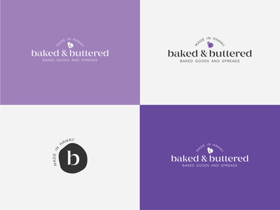 Baked & Buttered logotype typography baked goods bakery friendly elegant serif sophisticated modern clean purple idenity identity design vector layout logo identity hawaii design branding
