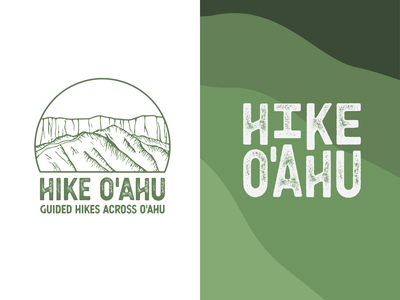 Hike O'ahu responsive identity illustrator modified type green nature sketch illustration logotype typography texture hiker hawaii design logo hiking