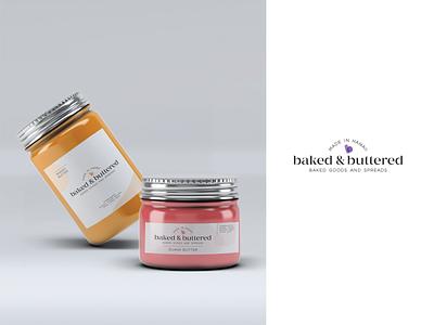 Baked & Buttered Jar Labels logotype shapes organic modern mason jar butter label design package design label hawaii typography logo layout identity branding design