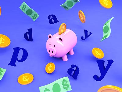 Payday piggy bank money 3d character design 3d rendering illustration 3d illustration cinema 4d