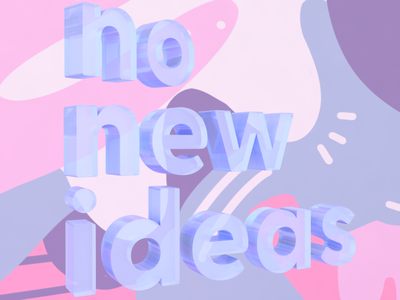 No new ideas typography text pink cinema 4d 3d rendering 3d illustration illustration