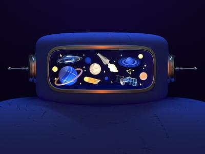 Robot #6 spaceman astronaut 3d art c4d stars astrology comet galaxy planets moon spaceship satellite space environment character design cinema 4d 3d rendering 3d illustration