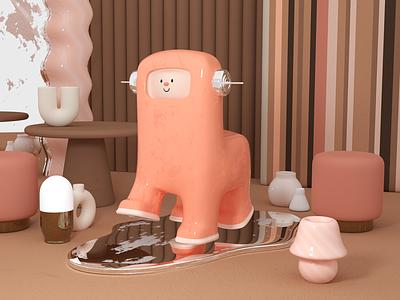 Robot #3 design interior toy robot 80s 70s furniture animal c4d pink character design cinema 4d 3d rendering illustration 3d illustration