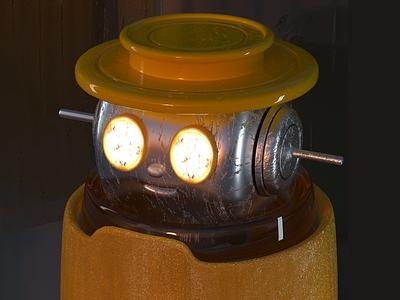 Robot #2 dark texture toy robot yellow 3d c4d character design cinema 4d 3d rendering 3d illustration