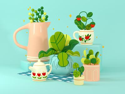 Cottagecore Illustration house plant strawberry fruit plants leaf nature c4d cinema 4d 3d rendering 3d illustration