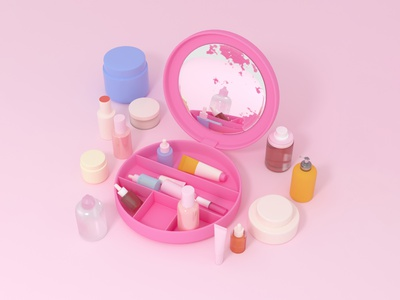 Imaginary Objects #1 cosmetics lotion packaging products skincare storage makeup 3d pink c4d cinema 4d 3d rendering illustration 3d illustration