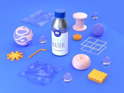 Water bottle plastic bubbles things items water objects school of motion c4d cinema 4d 3d rendering illustration 3d illustration