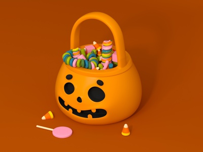 Candy basket face lollipop candy corn festive fall pumpkin jack o lantern halloween trick or treat c4d character design cinema 4d 3d rendering illustration 3d illustration