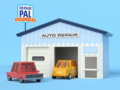 Auto Repair repairpal vehicle mechanic car toy repair environment c4d illustration cinema 4d 3d rendering 3d illustration