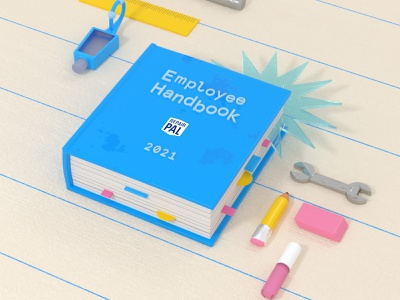 Employee handbook new year car auto repair shop mechanic tools office supplies book employee swag employee experience cinema 4d 3d rendering 3d illustration