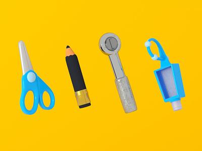 Favorite tools office supplies scissors hand sanitizer pencil wrench mechanic tools c4d cinema 4d 3d rendering 3d illustration