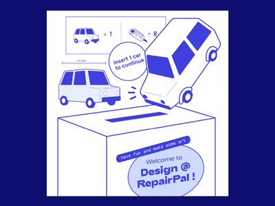 Design @ RepairPal welcome instructional instructions graphic brand design team employee experience culture car toy 3d art illustration