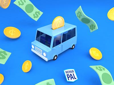 Payday graphic brand design toy bills dollar coin money car 3d art cinema 4d 3d rendering 3d illustration
