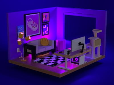 RGB Lights bedroom couch sofa living room house home video games pc gaming pc computer battlestation furniture interior design midcentury interior apartment cinema 4d 3d rendering 3d illustration