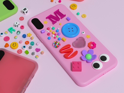 Phone case character jewelry bracelet flower eyes trinkets fun games dice girly charms beads 2000s phone illustration cinema 4d 3d rendering 3d illustration