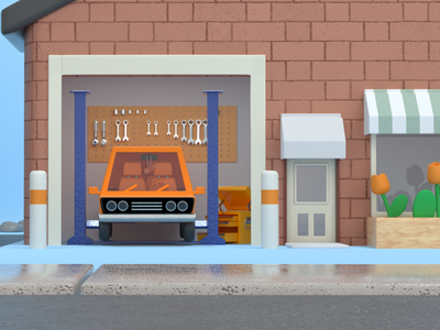 Repair shop startup repairpal explainer video town environment cinema 4d 3d rendering 3d illustration 3d art store front building machine tools parts car repair