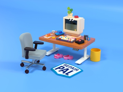 Work from home cute company automotive toys keyboard office chair office space setup work station computer design team car repair remote work work from home wfh office 3d rendering 3d illustration