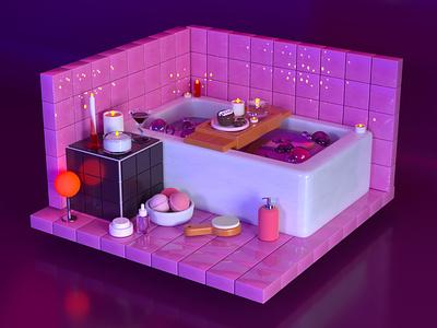 Self care tiles water bubbles makeup bath bomb candles female girl bathtub bathroom interior design scene illustration cinema 4d 3d rendering 3d illustration