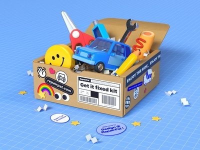 Employee care package office supplies scissors website get it fixed stickers items care kit employee experience employee swag automotive repair vehicle cars toy environment character design illustration cinema 4d 3d rendering 3d illustration