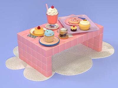 Sweet things eat home decor interior design feminine girly pink 3d modeling zbrush dinner lunch breakfast cake ice cream dessert food c4d illustration cinema 4d 3d rendering 3d illustration