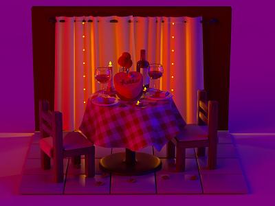 Date night toy napkins dessert sweets cake wine red purple ambient eating food brunch dinner restaurant zbrush blender c4d cinema 4d 3d rendering 3d illustration