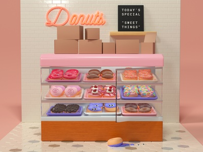 Donuts creature grocery store donut shop pastries bakery desserts sweets food pink furniture interior design toy character design illustration cinema 4d 3d rendering 3d illustration