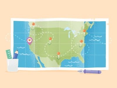 Building a Distributed Startup creative market travel illustration usa map map
