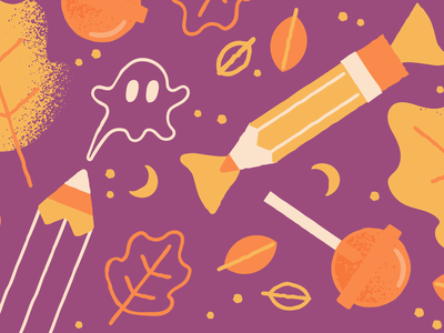 October Bundle orange yellow fall ghost candy halloween pattern design vector pencil illustration creative market