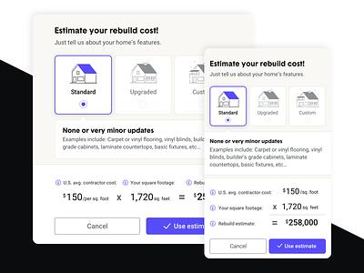 Rebuild cost estimator illustration uxui responsive design responsive ux ui minimal design