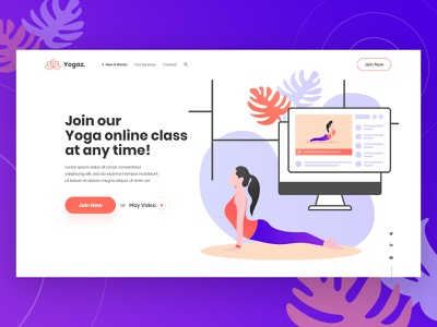 Yoga Online Class Landing Page Design health fitness dribbble landing page online classes online course online class yoga illustration yoga at home gym landing page gym yoga studio yoga mat yoga logo yoga app young youth yoga landing page yoga pose yoga