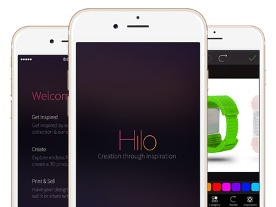 Hilo Mobile app for 3D Systems mobile ios iphone creative innovation fun filter flat clean typography
