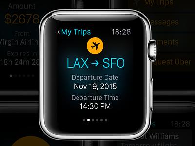 Flight iWatch app design flat ui user interface iwatch